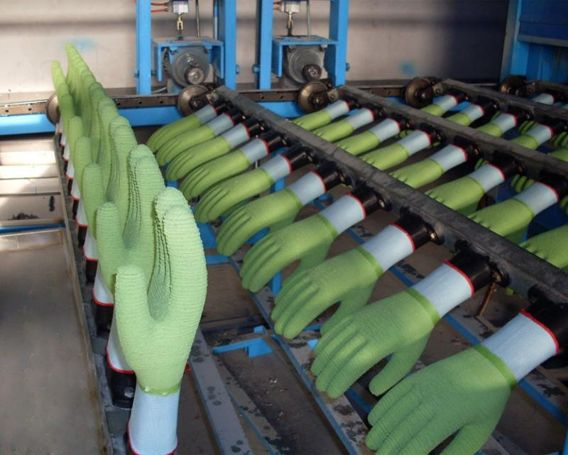 Production line of impregnated gloves